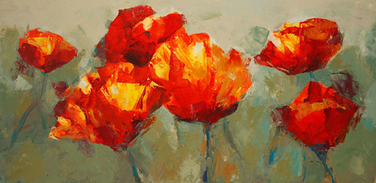 poppies on slate_24x48